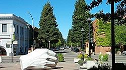 Cupped Hand Statue, Santa Rosa Plaza, Sonoma County